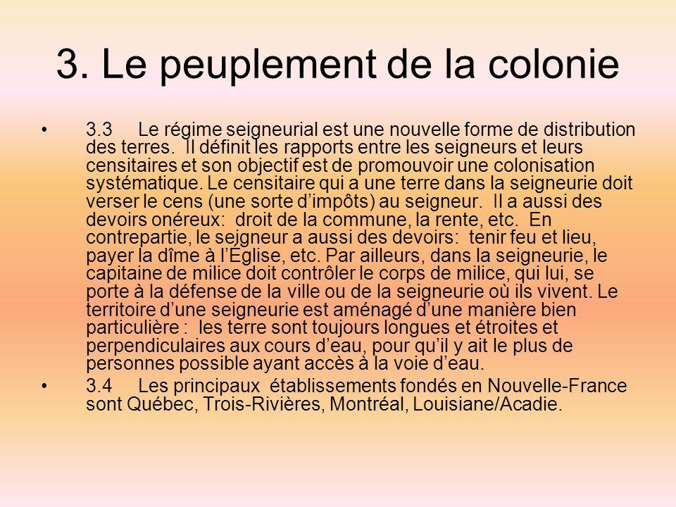 3. Le peuplement de la colonie 3.3 Le régime seigneurial est une nouvelle forme de distribution des terres. Il définit les rapports entre les seigneur