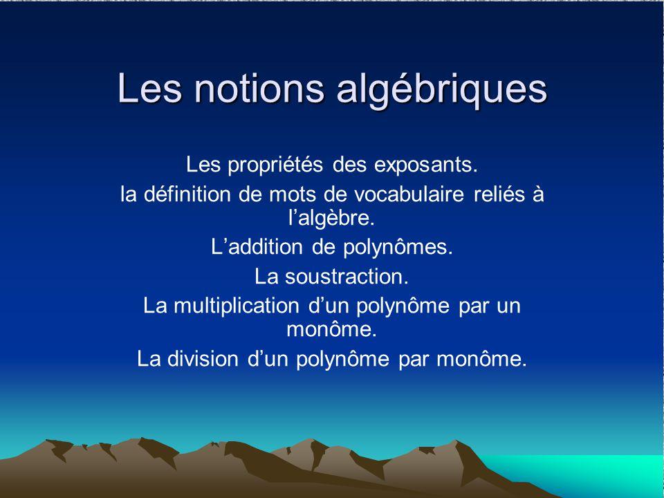 Les notions algébriques Les propriétés des exposants. la définition de mots de vocabulaire reliés à lalgèbre. Laddition de polynômes. La soustraction.