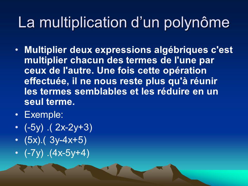 La multiplication dun polynôme Multiplier deux expressions algébriques c'est multiplier chacun des termes de l'une par ceux de l'autre. Une fois cette