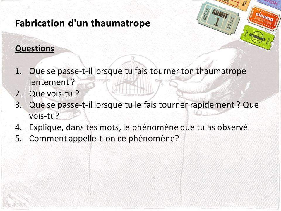 Fabrication d'un thaumatrope Questions 1.Que se passe-t-il lorsque tu fais tourner ton thaumatrope lentement ? 2.Que vois-tu ? 3.Que se passe-t-il lor