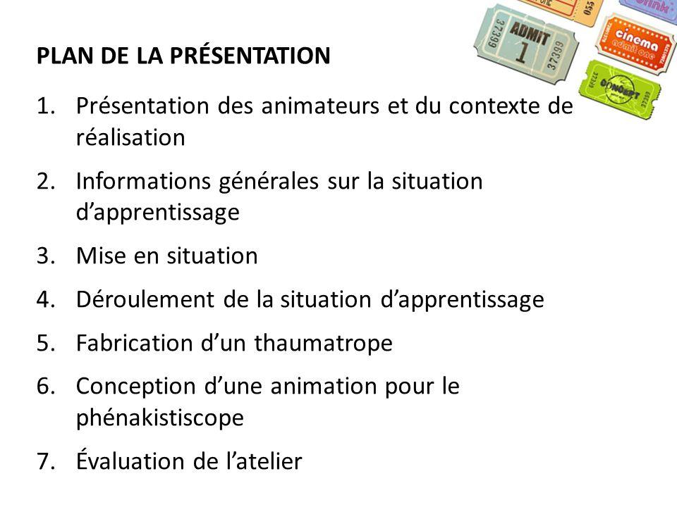 1.Présentation des animateurs et du contexte de réalisation 2.Informations générales sur la situation dapprentissage 3.Mise en situation 4.Déroulement