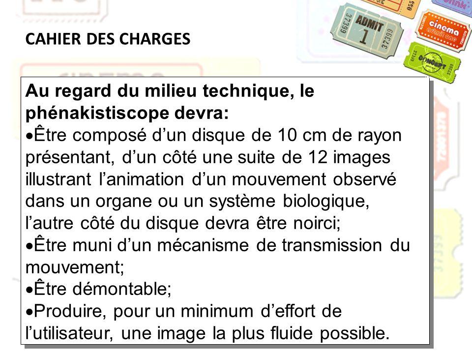 CAHIER DES CHARGES Au regard du milieu technique, le phénakistiscope devra: Être composé dun disque de 10 cm de rayon présentant, dun côté une suite d