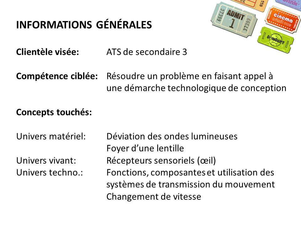 INFORMATIONS GÉNÉRALES Clientèle visée:ATS de secondaire 3 Compétence ciblée:Résoudre un problème en faisant appel à une démarche technologique de con