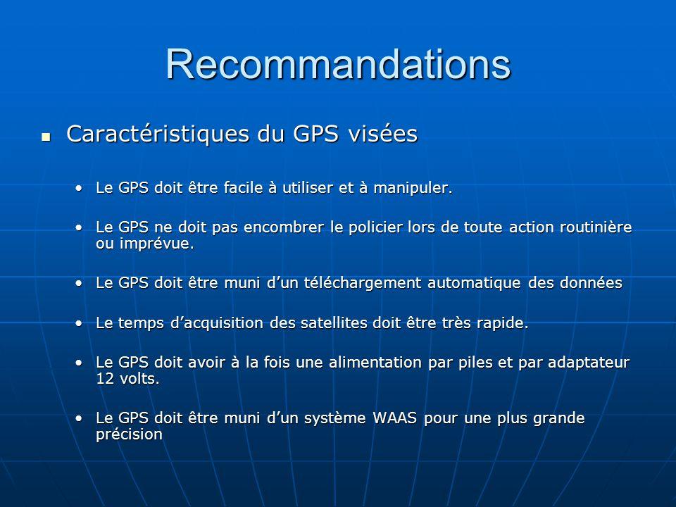 Recommandations Caractéristiques du GPS visées Caractéristiques du GPS visées Le GPS doit être facile à utiliser et à manipuler.Le GPS doit être facile à utiliser et à manipuler.