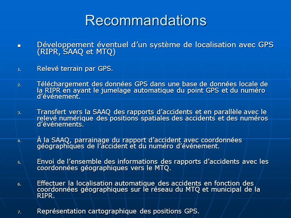 Recommandations Développement éventuel dun système de localisation avec GPS (RIPR, SAAQ et MTQ) Développement éventuel dun système de localisation avec GPS (RIPR, SAAQ et MTQ) 1.