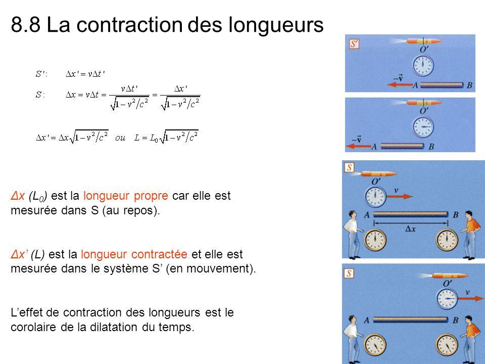 8.8 La contraction des longueurs Δx (L 0 ) est la longueur propre car elle est mesurée dans S (au repos). Δx (L) est la longueur contractée et elle es