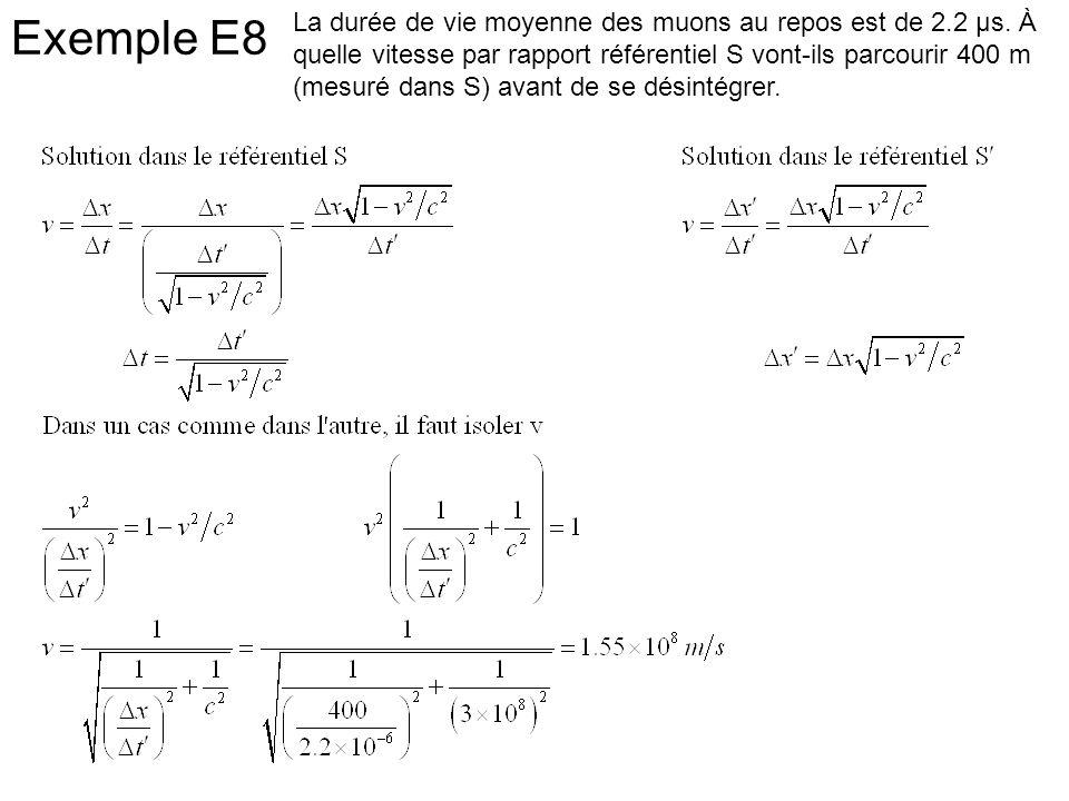 Exemple E8 La durée de vie moyenne des muons au repos est de 2.2 μs. À quelle vitesse par rapport référentiel S vont-ils parcourir 400 m (mesuré dans