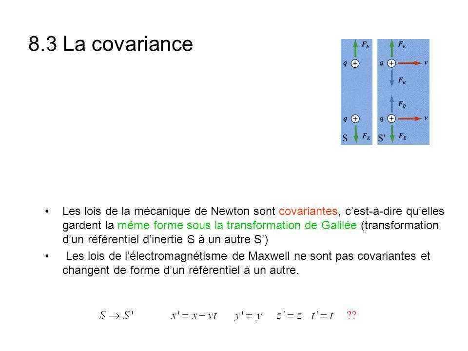 8.3 La covariance Les lois de la mécanique de Newton sont covariantes, cest-à-dire quelles gardent la même forme sous la transformation de Galilée (tr