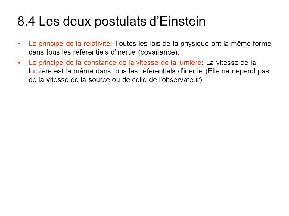 8.4 Les deux postulats dEinstein Le principe de la relativité: Toutes les lois de la physique ont la même forme dans tous les référentiels dinertie (c
