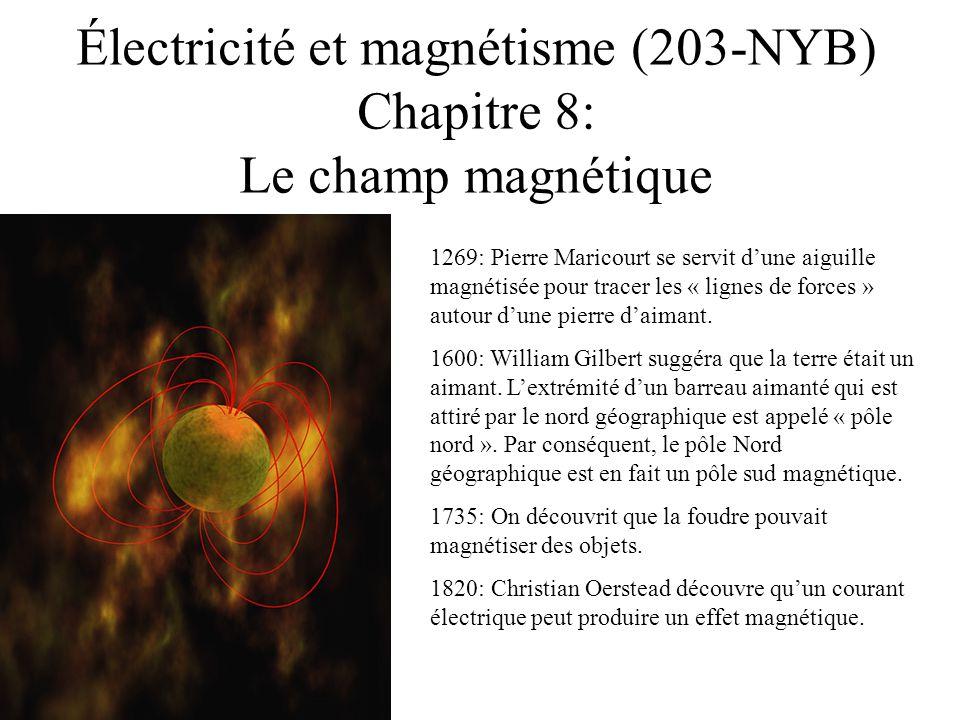 Électricité et magnétisme (203-NYB) Chapitre 8: Le champ magnétique 1269: Pierre Maricourt se servit dune aiguille magnétisée pour tracer les « lignes de forces » autour dune pierre daimant.