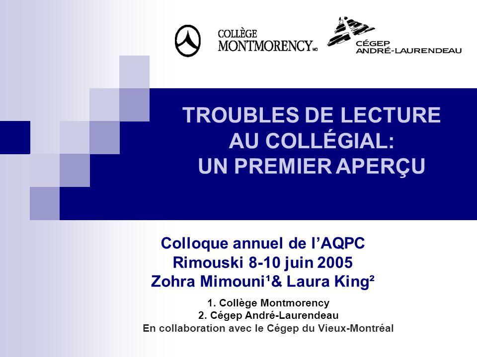 Colloque annuel de lAQPC Rimouski 8-10 juin 2005 Zohra Mimouni¹& Laura King² 1. Collège Montmorency 2. Cégep André-Laurendeau En collaboration avec le