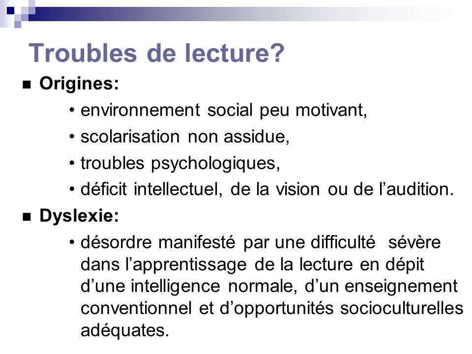Troubles de lecture? Origines: environnement social peu motivant, scolarisation non assidue, troubles psychologiques, déficit intellectuel, de la visi