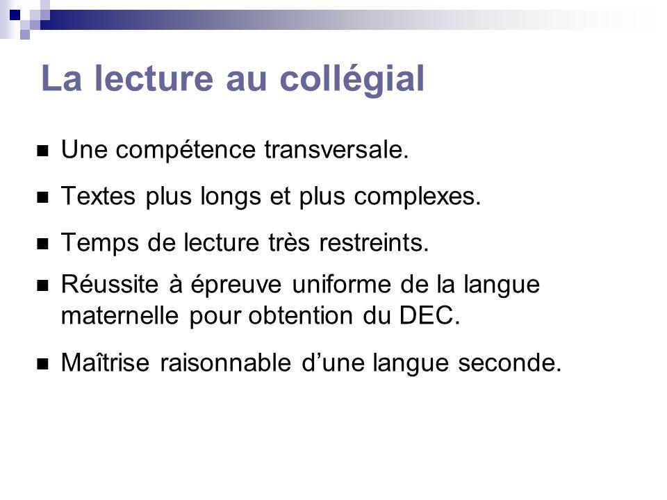 Notre recherche Objectif 1 : description et évaluation des troubles de lecture au niveau collégial chez une population francophone; (étude 1) Objectif 2 : évaluation de deux mesures de soutien: ajout de temps pour compléter une tâche impliquant des habiletés de lecture; accès à une version orale des textes écrits; (études 2,3,4)