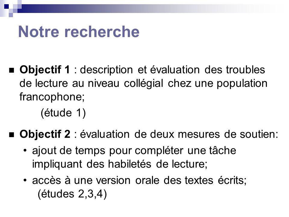 Notre recherche Objectif 1 : description et évaluation des troubles de lecture au niveau collégial chez une population francophone; (étude 1) Objectif