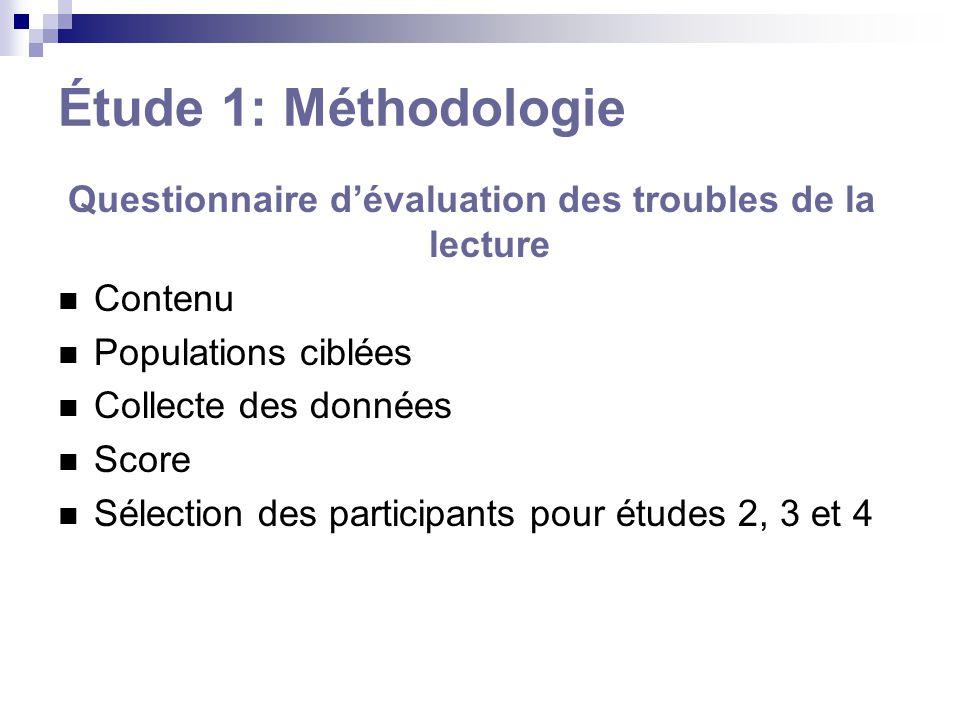 Étude 1: Méthodologie Questionnaire dévaluation des troubles de la lecture Contenu Populations ciblées Collecte des données Score Sélection des partic