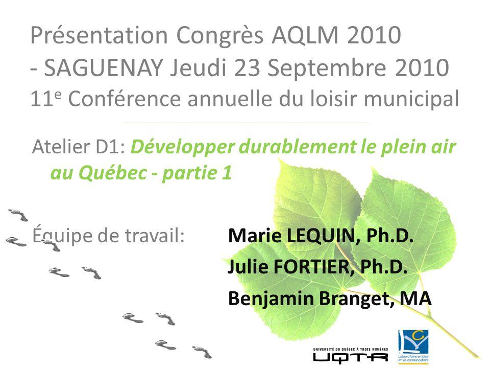 Atelier D1: Développer durablement le plein air au Québec - partie 1 Équipe de travail:Marie LEQUIN, Ph.D. Julie FORTIER, Ph.D. Benjamin Branget, MA P