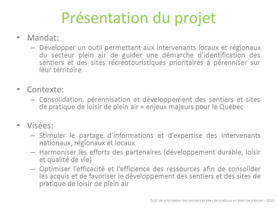 Présentation du projet Mandat: – Développer un outil permettant aux intervenants locaux et régionaux du secteur plein air de guider une démarche diden
