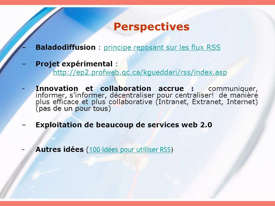 Perspectives –Baladodiffusion : principe reposant sur les flux RSSprincipe reposant sur les flux RSS –Projet expérimental : http://ep2.profweb.qc.ca/kgueddari/rss/index.asp pas de un pour tous -Innovation et collaboration accrue : communiquer, informer, sinformer, décentraliser pour centraliser.
