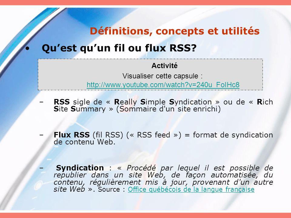 AlertInfo Installation/mode demploi : http://www.geste.fr/alertinfo/modedemploi.ht ml Windows Gratuit (« freeware ») Appréciation : + RSSOwl http://www.rssowl.org/ Fonctionnalités de lécran principal : http://fr.tutorial.rssowl.org/elements.html http://fr.tutorial.rssowl.org/elements.html Pour + détails: http://fr.tutorial.rssowl.org/index.html http://fr.tutorial.rssowl.org/index.html Multiplateforme Logiciel libre « Open Source » Nécessite Machine Java (JVM) Rapide et facile dutilisation Tutorial en ligne en français Appréciation : ++ FeedReader http://www.feedreader.com/download Pour + détails: http://www.feedreader.com/documentation http://www.feedreader.com/documentation Windows Nest plus Logiciel libre mais « freeware» Ergonomique, intuitif, efficace et complet (ou presque!) Un peu lourd Tutorial en ligne en anglais Appréciation : ++(+) Autres lecteurs http://www.rss-specifications.com/rss- readers.htmhttp://www.rss-specifications.com/rss- readers.htm