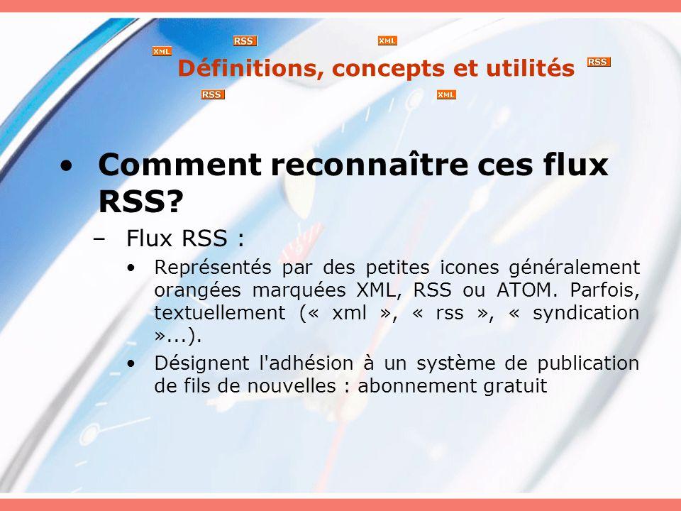 Définitions, concepts et utilités Activité : Repérer les adresses des fil RSS de : Le Devoir : http://www.ledevoir.com/ RDS : http://www.rds.ca/