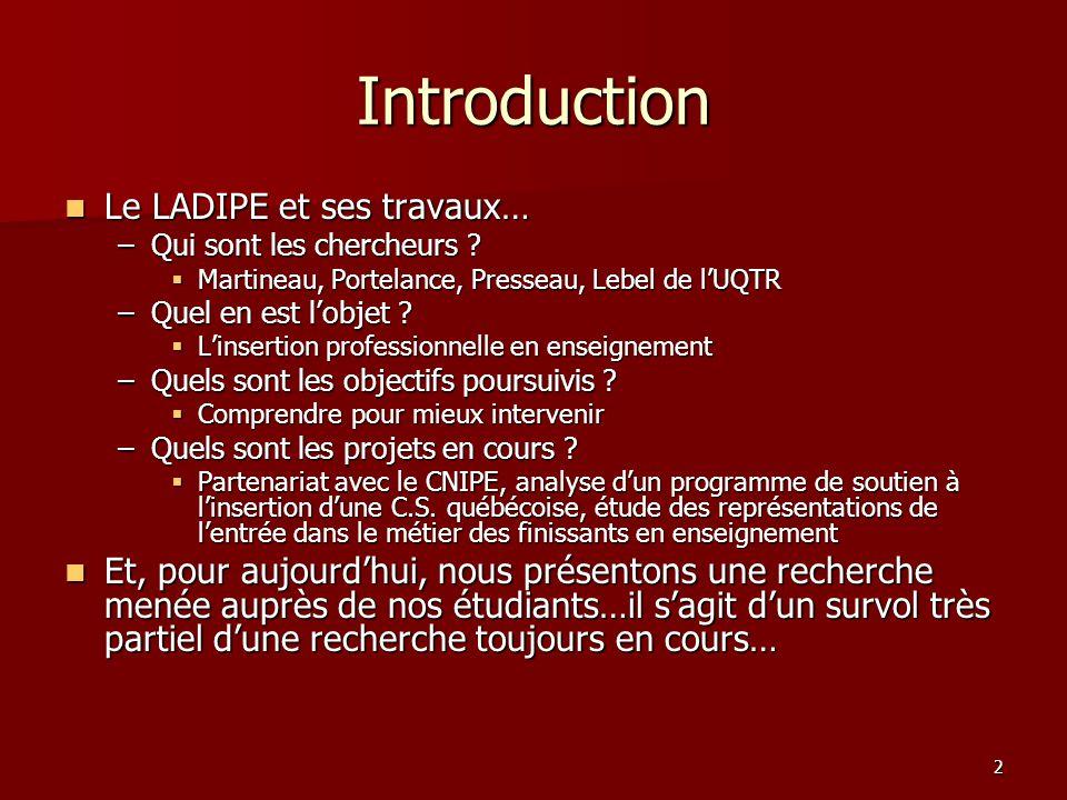 2 Introduction Le LADIPE et ses travaux… Le LADIPE et ses travaux… –Qui sont les chercheurs .