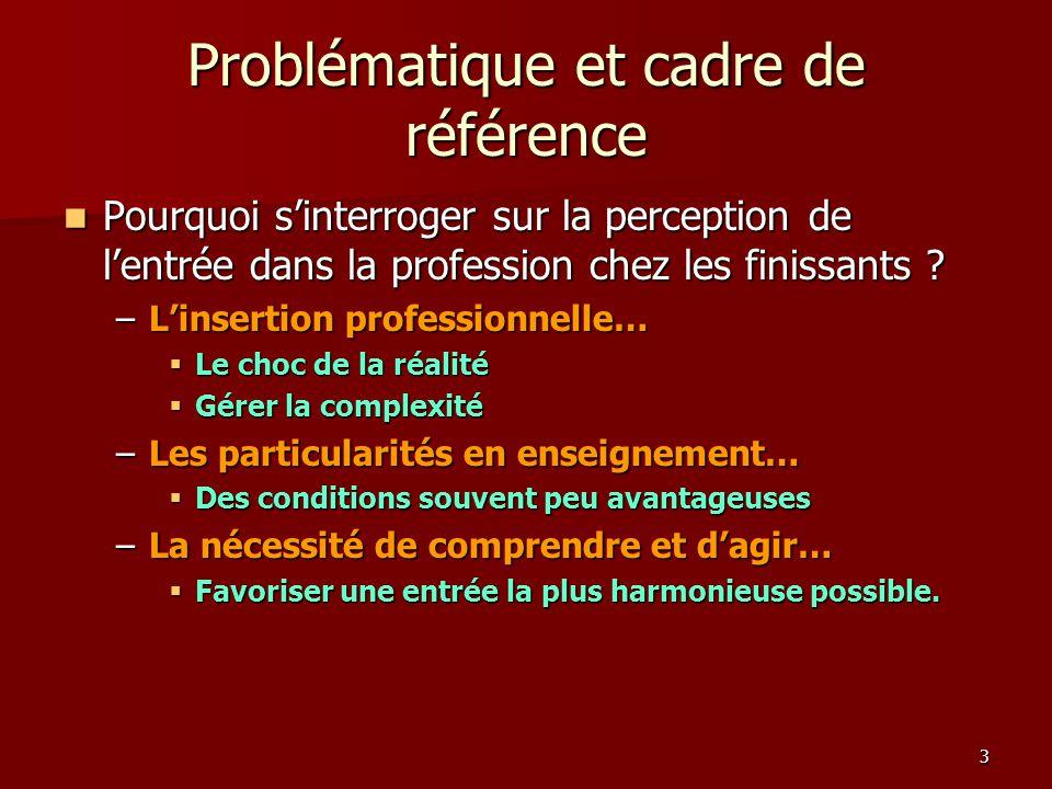 3 Problématique et cadre de référence Pourquoi sinterroger sur la perception de lentrée dans la profession chez les finissants .