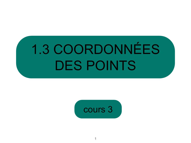 cours 3 1.3 COORDONNÉES DES POINTS 1