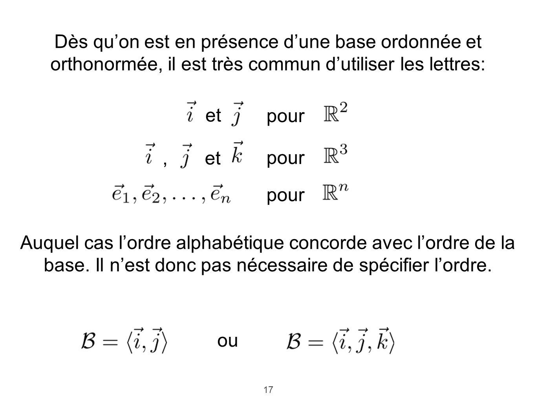 17 Dès quon est en présence dune base ordonnée et orthonormée, il est très commun dutiliser les lettres: et pour et pour, Auquel cas lordre alphabétique concorde avec lordre de la base.