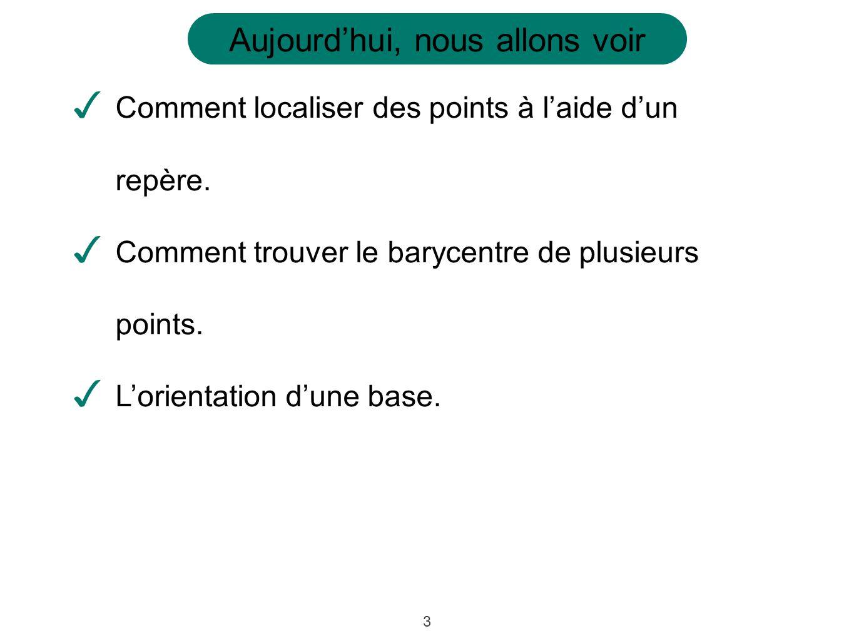 14 Définition: dun espace affine muni dun Le barycentre dun ensemble de points repère est le point pour lequel et les coordonnées du point sont données par