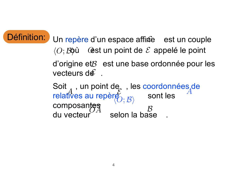 4 Définition: Un repère dun espace affine est un couple dorigine et est une base ordonnée pour les vecteurs de.