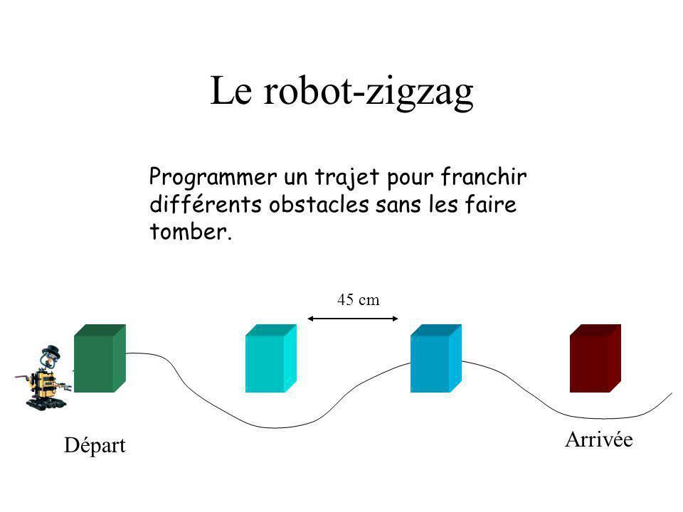 Le robot-zigzag Programmer un trajet pour franchir différents obstacles sans les faire tomber. Départ Arrivée 45 cm