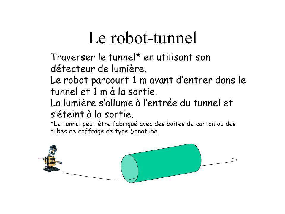 Le robot-tunnel Traverser le tunnel* en utilisant son détecteur de lumière. Le robot parcourt 1 m avant dentrer dans le tunnel et 1 m à la sortie. La