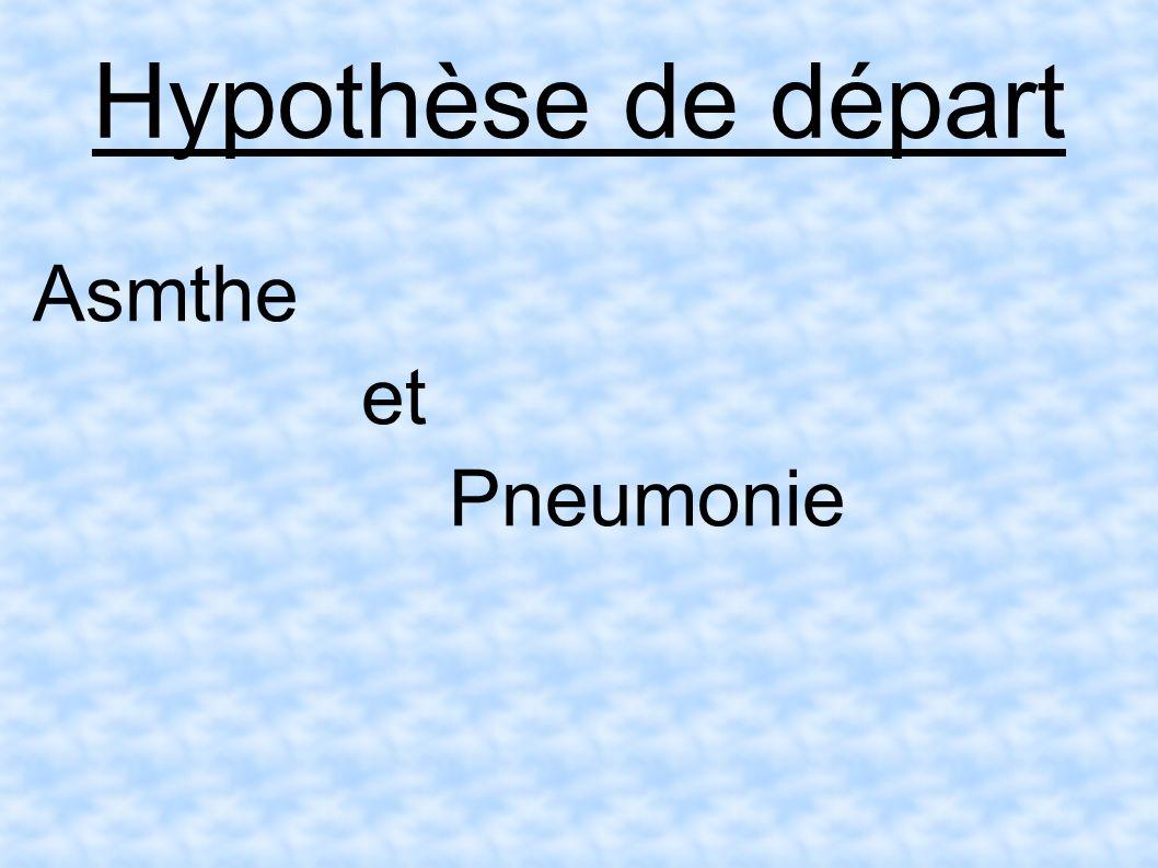 Hypothèse de départ Asmthe et Pneumonie