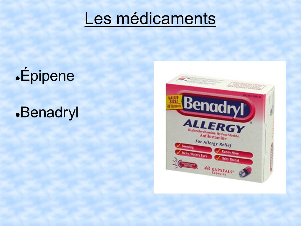 Les médicaments Épipene Benadryl