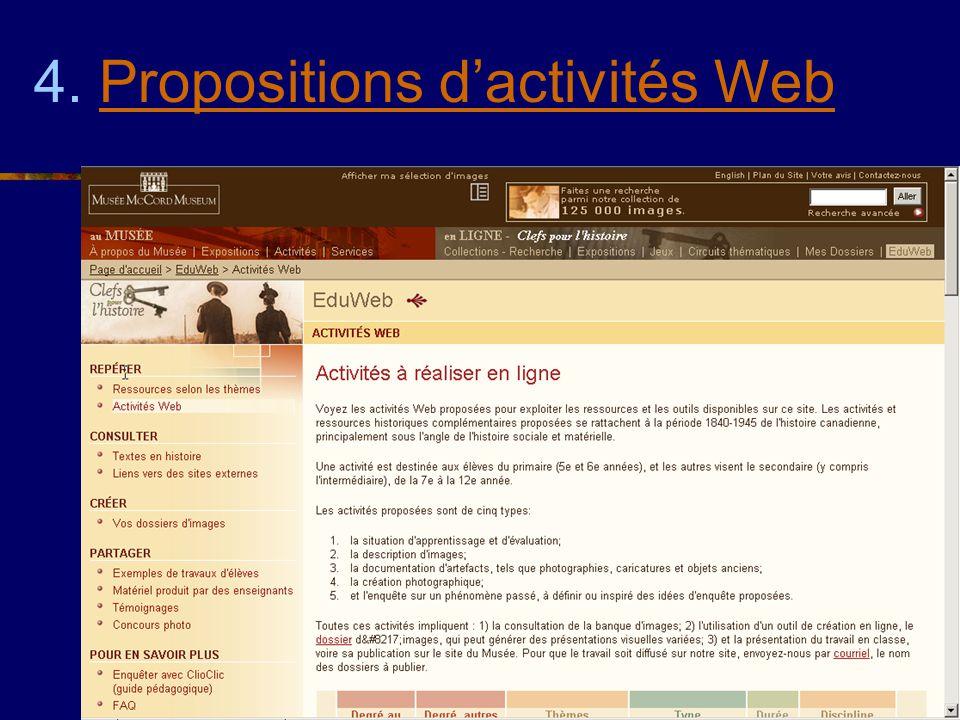4. Propositions dactivités WebPropositions dactivités Web