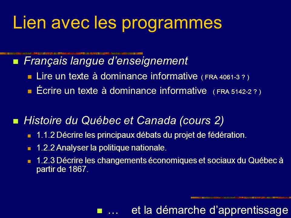 Lien avec les programmes Français langue denseignement Lire un texte à dominance informative ( FRA 4061-3 ? ) Écrire un texte à dominance informative