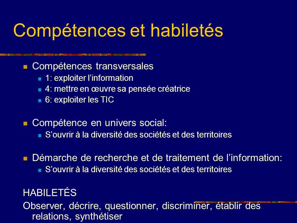 Compétences transversales 1: exploiter linformation 4: mettre en œuvre sa pensée créatrice 6: exploiter les TIC Compétence en univers social: Souvrir
