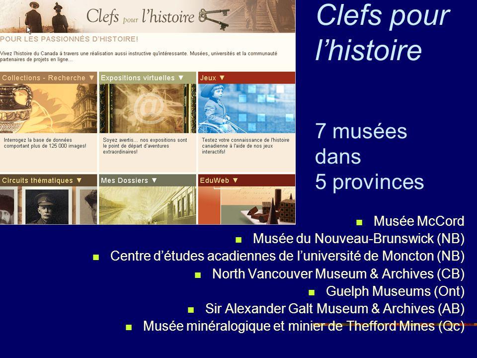 Clefs pour lhistoire 7 musées dans 5 provinces Musée McCord Musée du Nouveau-Brunswick (NB) Centre détudes acadiennes de luniversité de Moncton (NB) N