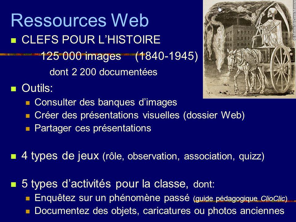 Ressources Web CLEFS POUR LHISTOIRE 125 000 images (1840-1945) dont 2 200 documentées Outils: Consulter des banques dimages Créer des présentations vi