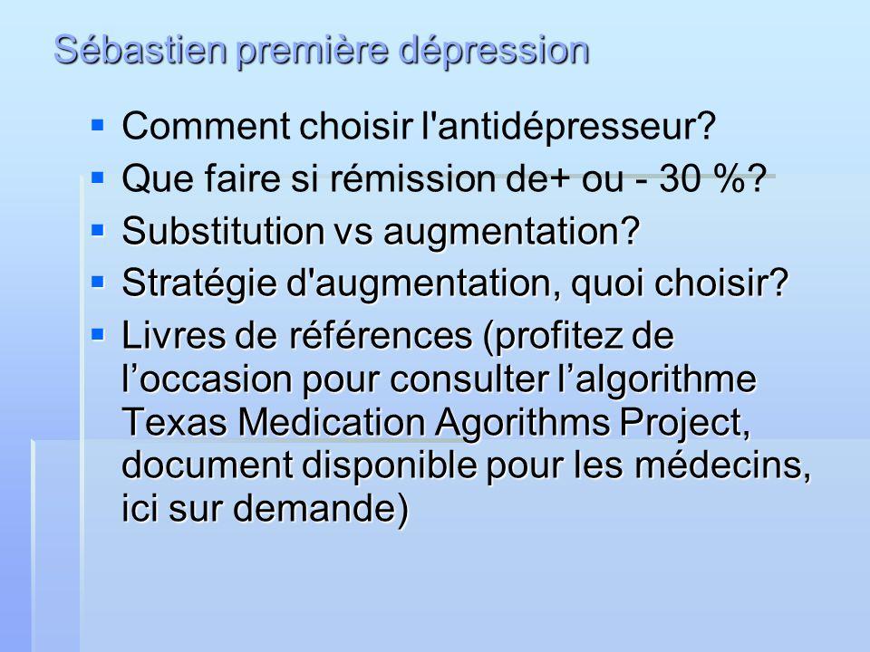 Sébastien première dépression Comment choisir l'antidépresseur? Que faire si rémission de+ ou - 30 %? Substitution vs augmentation? Substitution vs au