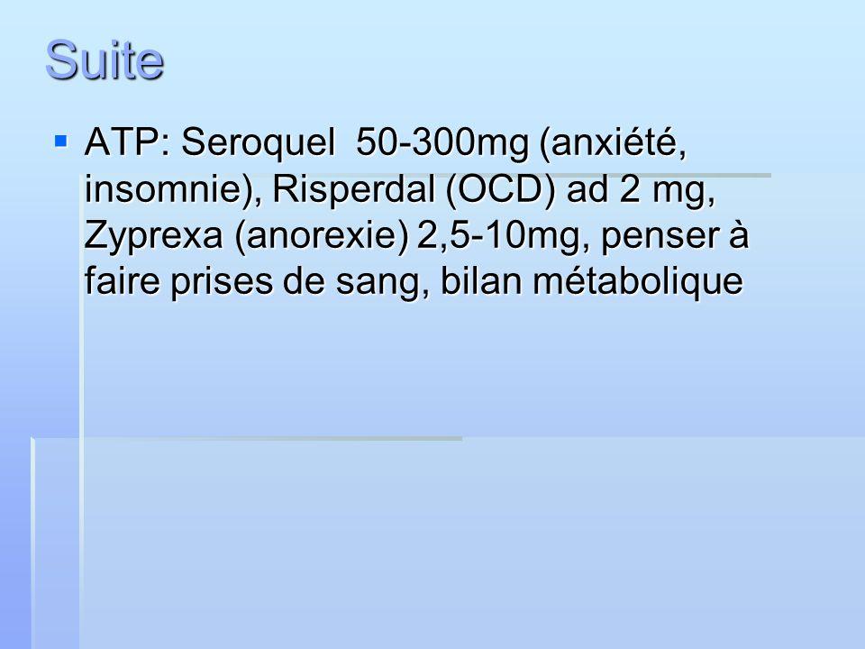 ATP: Seroquel 50-300mg (anxiété, insomnie), Risperdal (OCD) ad 2 mg, Zyprexa (anorexie) 2,5-10mg, penser à faire prises de sang, bilan métabolique ATP
