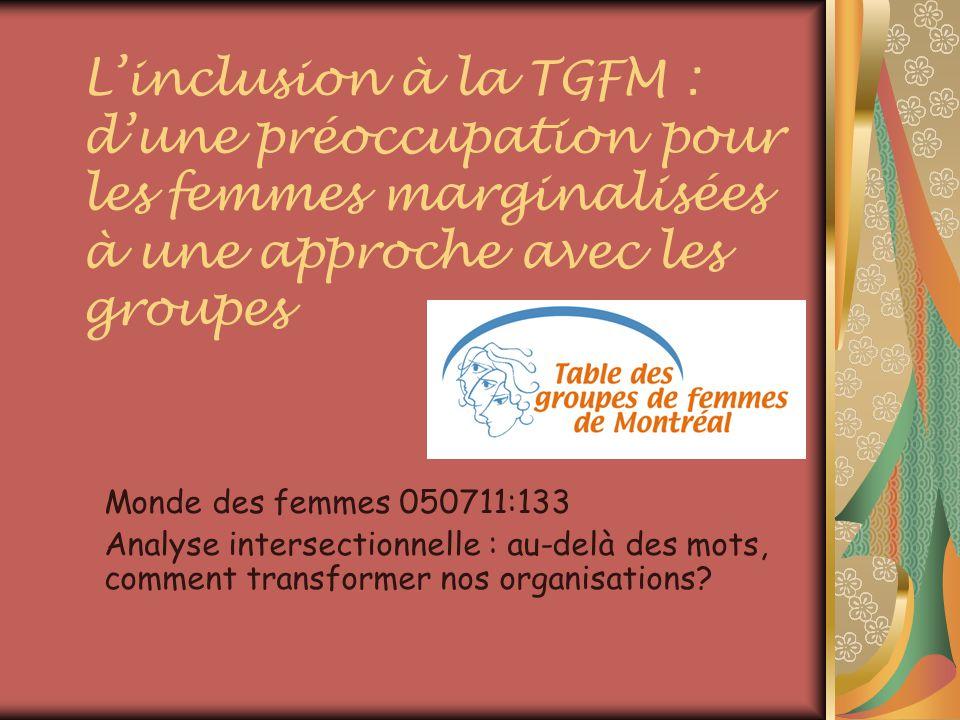 Linclusion à la TGFM : dune préoccupation pour les femmes marginalisées à une approche avec les groupes Monde des femmes 050711:133 Analyse intersectionnelle : au-delà des mots, comment transformer nos organisations?