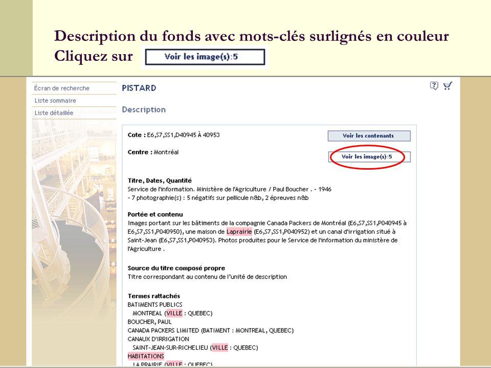 13 Description du fonds avec mots-clés surlignés en couleur Cliquez sur