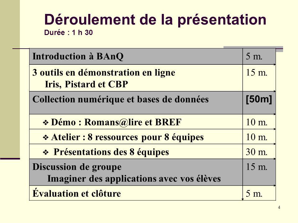 4 Introduction à BAnQ5 m. 3 outils en démonstration en ligne Iris, Pistard et CBP 15 m.