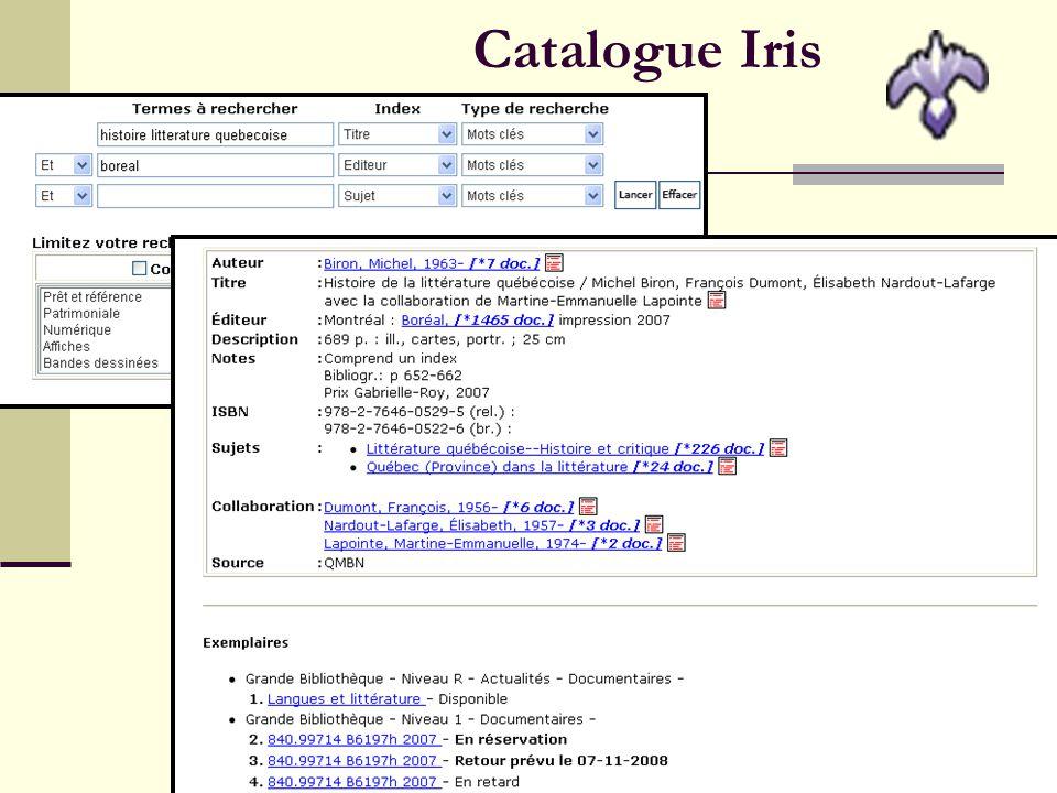 9 En savoir plus sur le catalogue Iris Accueil > Aide : Accueil