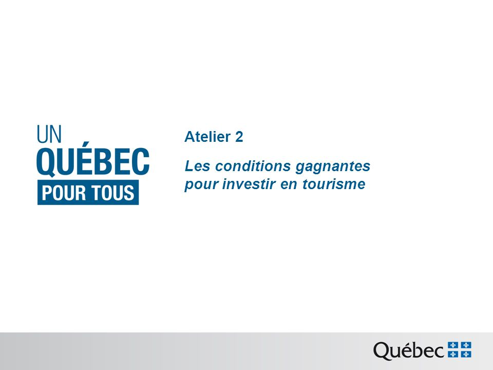 Quelques chiffres Le tourisme dans léconomie québécoise 12,4 G$ de recettes (2011) 2,5 % du PIB 29 500 entreprises associées 141 000 emplois directs 4 e produit dexportation 3