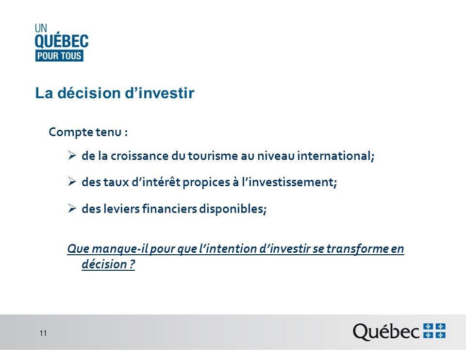 La décision dinvestir Compte tenu : de la croissance du tourisme au niveau international; des taux dintérêt propices à linvestissement; des leviers financiers disponibles; Que manque-il pour que lintention dinvestir se transforme en décision .
