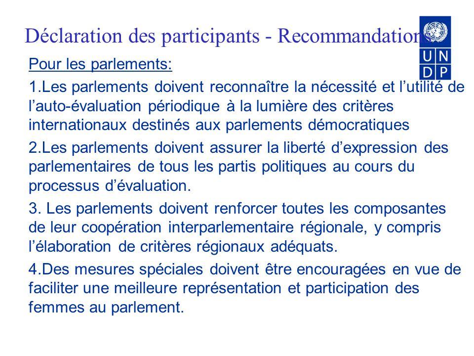 Application des critères et des cadre dauto- évaluation 2 objectifs: (1) évaluer le parlement à la lumière des critères internationaux relatifs aux parlements démocratiques et (2) identifier les priorités et moyens de renforcement parlementaire.