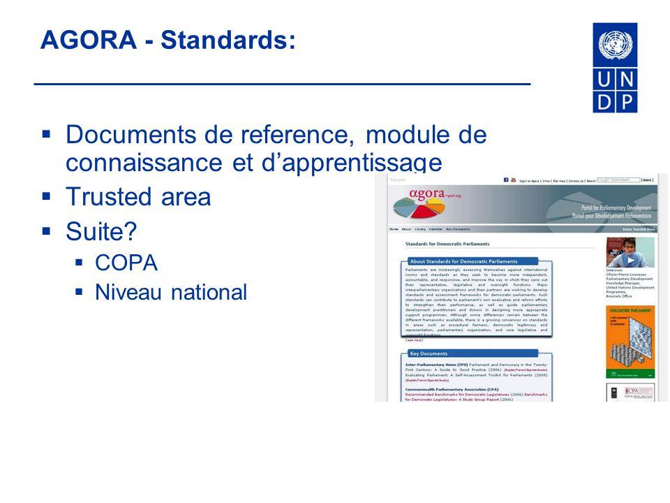 AGORA - Standards: Documents de reference, module de connaissance et dapprentissage Trusted area Suite? COPA Niveau national