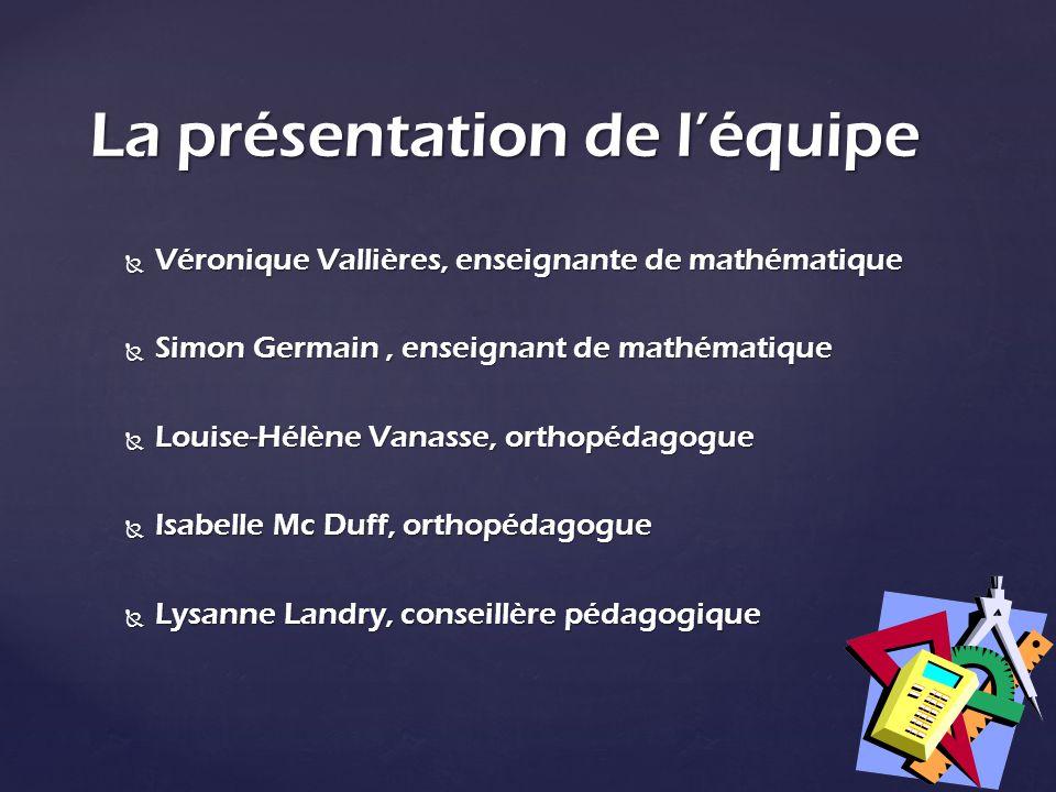 Véronique Vallières, enseignante de mathématique Véronique Vallières, enseignante de mathématique Simon Germain, enseignant de mathématique Simon Germ